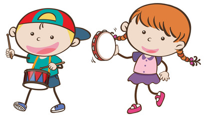 Boy and girl playing musical instruments