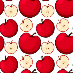Seamless background design with red apples