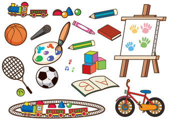Different school items and sport equipments