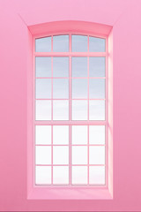 View form window, pastel pearl pink walls 3d render
