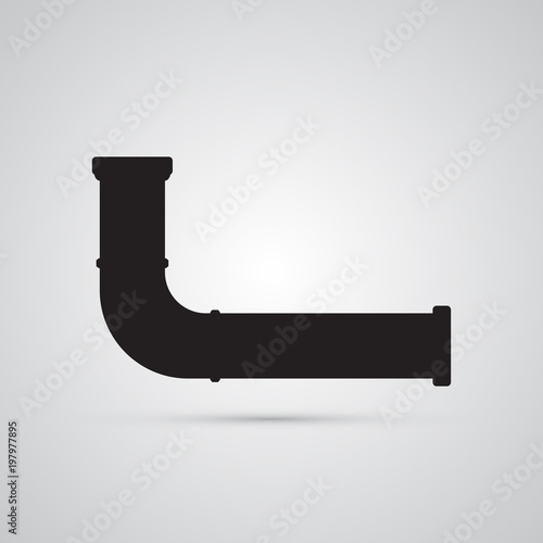 Silhouette Flat Icon Simple Vector Design Water Pipe Illustration For Sanitary Engineering And