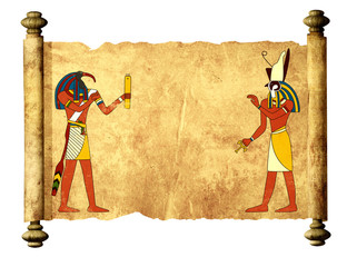 Old parchment with Egyptian gods images Toth and Horus