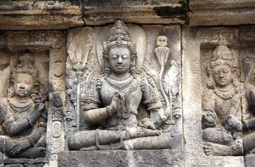 Fotobehang Indonesië Bas-relief of meditating Buddha, Prambanan, Yogyakarta, Java, Indonesia