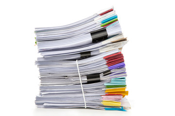 Stack of Documents isolated on white background. Documents pile.
