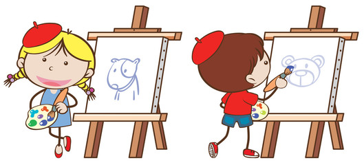 Two kids drawing on canvas