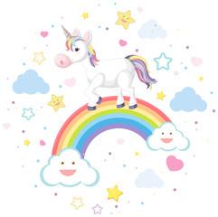 Cute unicorn on rainbow