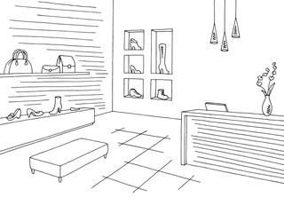 Shoe shop store graphic black white interior sketch illustration vector