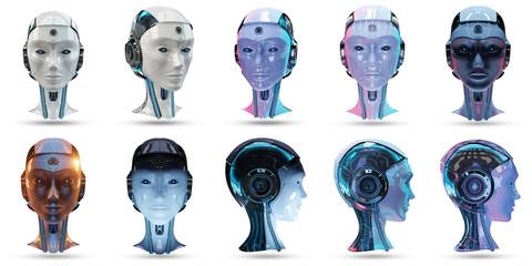 Cyborg head artificial intelligence pack 3D rendering