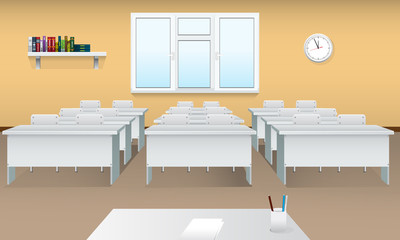 Empty school classroom. Realistic Classroom interior with large window and front view. Meeting room.