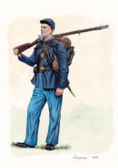 US Civil war illustration. US infantry. 105th Pennsylvania Infantry,  US Civil war, 1862.