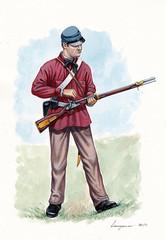 "US Civil war illustration. 5th Virginia Infantry CO. C ""Mountain Guard"" 1861. US infantry."