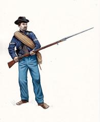 US Civil war illustration. Infantry of Confederate States of America. Ohio regiment.
