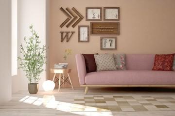 Idea of pink minimalist room with sofa. Scandinavian interior design. 3D illustration