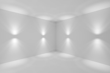 Abstract white room corner with wall lamp spotlights