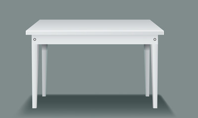 White empty table with four legs and side view.