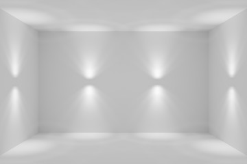 Abstract white room with wall lamp spotlights