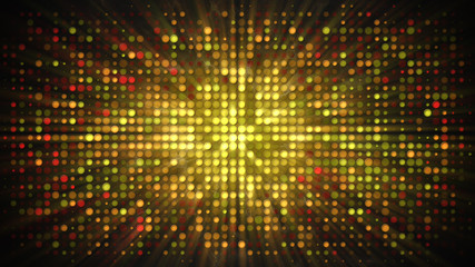 Shiny gold disco wall with flashing lights and smoke abstract background