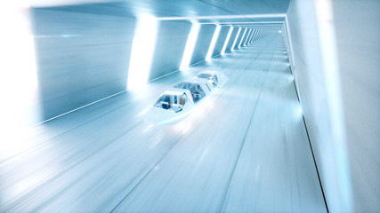 futuristic flying bus with peoples fast driving in sci fi tunnel, coridor. Concept of future. 3d rendering.
