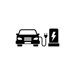 Electric Car Charging Station. Flat Vector Icon. Simple black symbol on white background