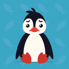 Cute penguin sitting sad. Vector illustration of arctic bird shows unhappy emotion. Sadness emoji. Smiley icon. Print, chat, communication. Penguin in flat cartoon style on blue background.