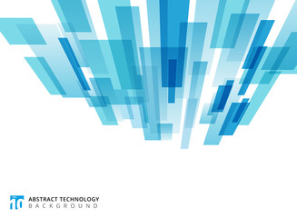 Abstract technology vertical perspective overlapped geometric squares shape blue colour on white background with copy space.