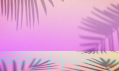 3d illustration of palm leaves shade on pink background. New retro wave landscape with blue laser floor.