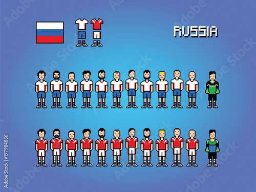 5c54f313713 Russia football team player uniform pixel art game illustration ...