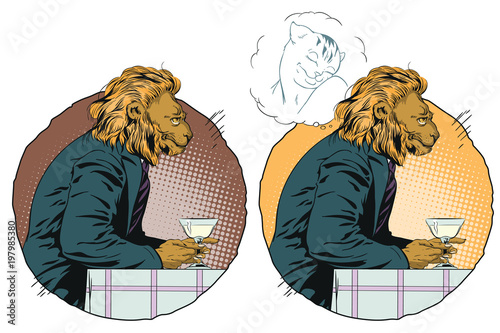 Dreaming Man. Romantic lion. Male dreams of a girl. People in images of animals.
