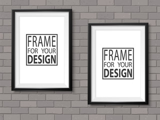 Frames grey brick wall photoframe mockup vector dark black