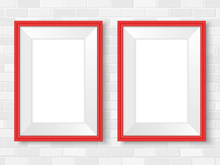 Frames mockup on brick wall template red
