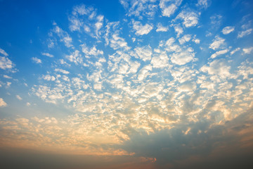 Beautiful fluffy clouds with blue sky background.