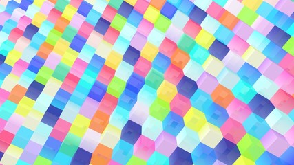 Cubes background. Colorful wallpaper. 3d rendering. Abstract geometric backdrop. Blocks. Simple poster. Square shapes. Digital image.