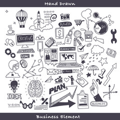 Business doodles Sketch set , infographics elements isolated, vector shapes