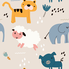 Childish seamless pattern with animal. Creative childish texture. Great for fabric, textile Vector Illustration