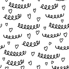 Seamless pattern with hand drawn heart and abstract element