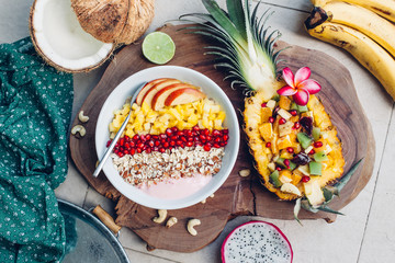 Smoothie bowl with tropical fruits