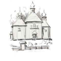 pensil drawing architecture wood church castel building  historic famoust ansient nature europe landmark travel tourism