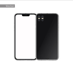 New smartphone with blank white screen. Isolated on white background. Realistic vector illustration.
