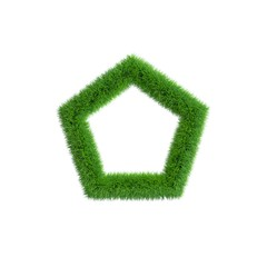 Grass frame in form of pentagon. Isolated on white background.