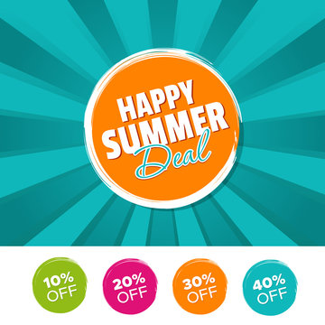 Happy Summer Deal color banner and 10%, 20%, 30% & 40% Off Marks. Vector illustration.
