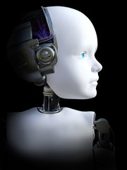 3D rendering of a robot child head.