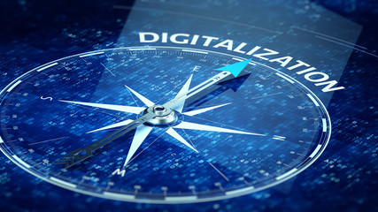 Digitalization concept - Compass needle pointing Digitalization word. 3d rendering