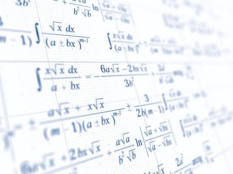 Math concept - Mathematical integral formulas. 3d rendering