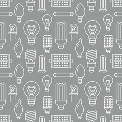 Light bulbs seamless pattern with flat line icons. Led lamps types, fluorescent, filament, halogen, diode and other illumination. Modern grey white background with linear signs for electric store.