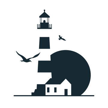 Lighthouse logo template design.