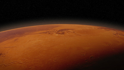 red planet Mars in natural colors, surface close up with visible atmosphere
