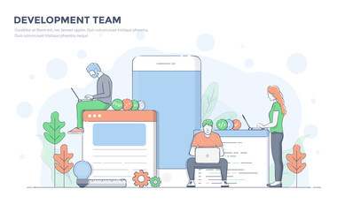 Flat Line Modern Concept Illustration - Development Team