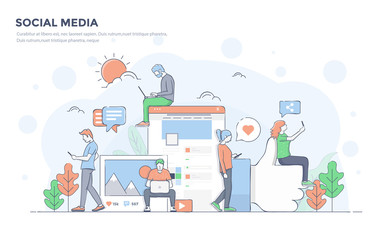 Flat Line Modern Concept Illustration - Social Media