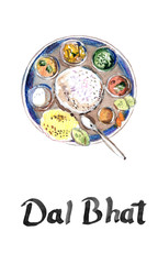 Dal Bhat recipe local food of Nepal and India , cuisine, watercolor hand drawn illustration