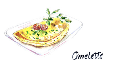 Italian egg omelette with tomatoes, herbs on a white plate, watercolor hand drawn illustration